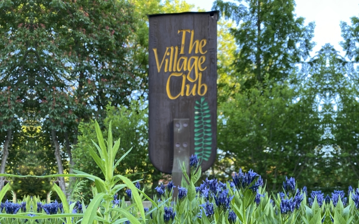 Village Club Sign with Flower