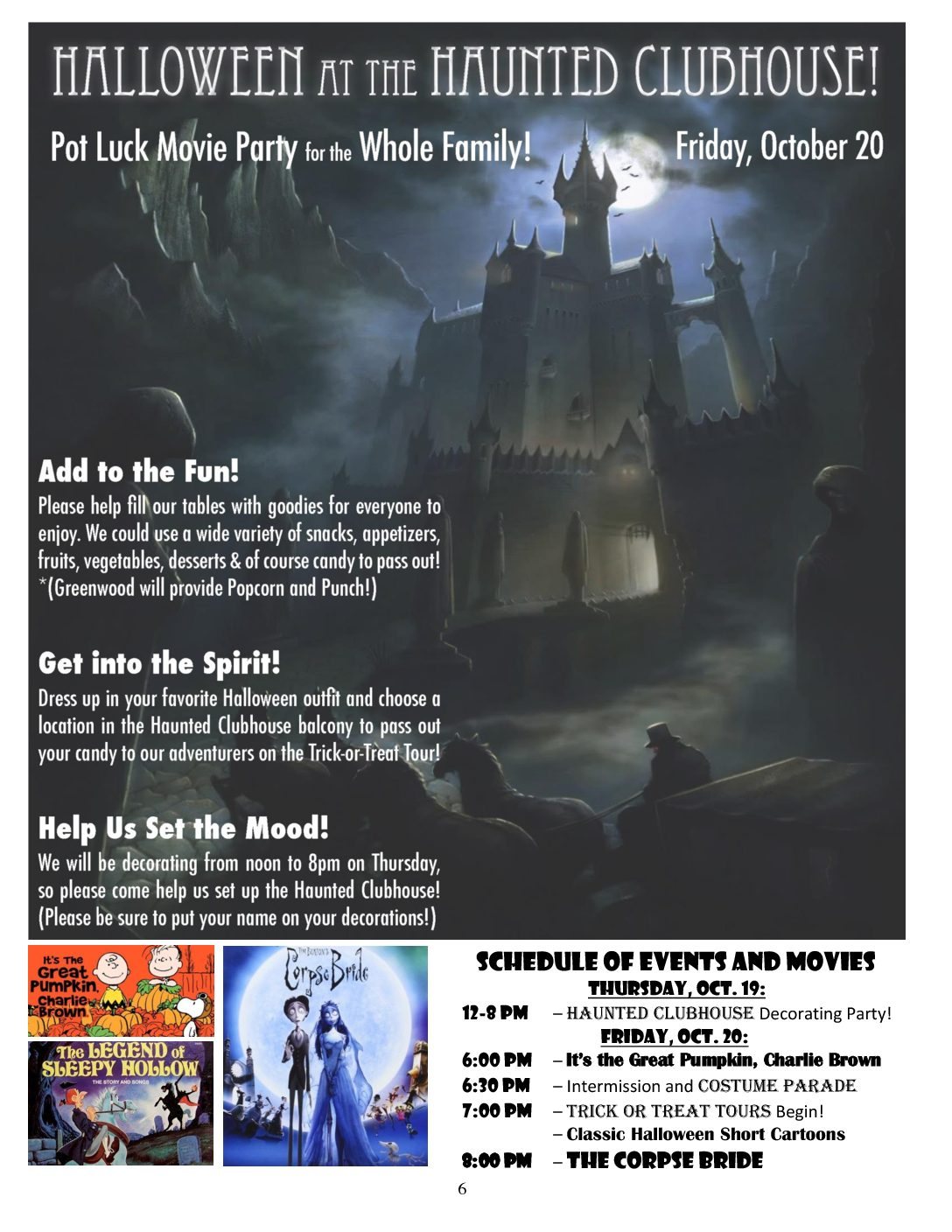 halloween at the haunted clubhouse party 6 pm friday oct 20